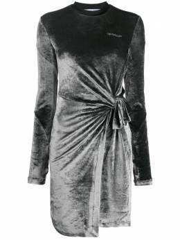 Off-White бархатное платье асимметричного кроя OWDB241E20FAB0010808