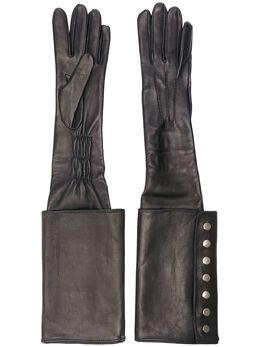 Manokhi длинные перчатки с пуговицами AW20MANO211A204LONGGLOVESWITHCUFFBLACKSILVER