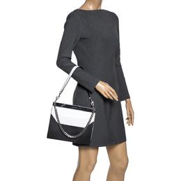 Alexander McQueen Black/White Leather Bar Shoulder Bag 301447