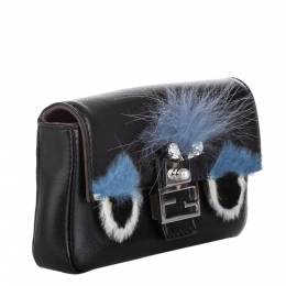 Fendi Black Leather Micro Monster Baguette Bag 300588