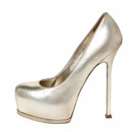 Saint Laurent Pale Gold Leather Tribtoo Platform Pumps Size 37.5 302342