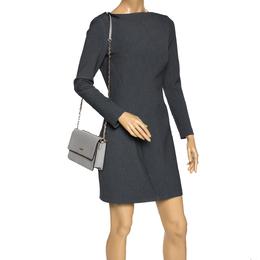 DKNY Grey Leather Chain Shoulder Bag 302349
