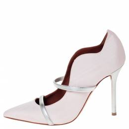 Malone Souliers Pink Canvas Maureen Pointed Toe Pumps Size 37 302288
