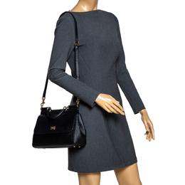 Dolce&Gabbana Black Leather Medium Miss Sicily Top Handle Bag 301723