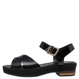 Fendi Black Lizard Embossed Leather Hydra Cross Strap Espadrille Platform Sandals Size 38.5 301407