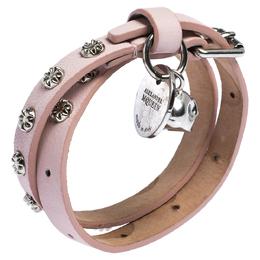 Alexander McQueen Light Pink Leather Skull Wrap Bracelet 301368
