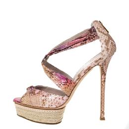 Le Silla Multicolor Python Embossed Leather Espadrille Platform Sandals Size 37.5 301352