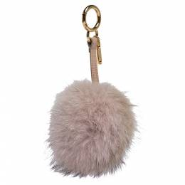 Fendi Light Pink Fox Fur Pompom Bag Charm and Key Holder 301618
