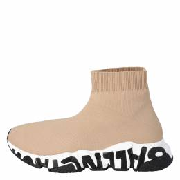 Balenciaga Beige Knit Graffiti Sole Speed Sneakers Size 36 301929