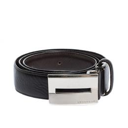 Burberry Black Leather Logo Plaque Buckle Belt 90CM 302227