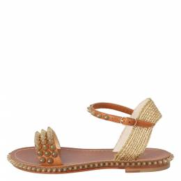 Christian Louboutin Beige Cordorella Spiked Flat Leather Sandals Size 36 301800