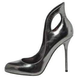 Sergio Rossi Metallic Gunmetal Leather Oblo Cut Out Pumps Size 38 301338