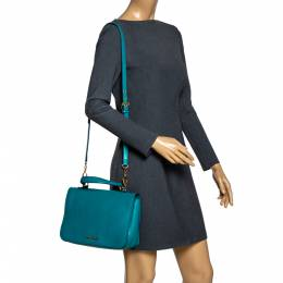Miu Miu Green Leather Madras Top Handle Bag 302044