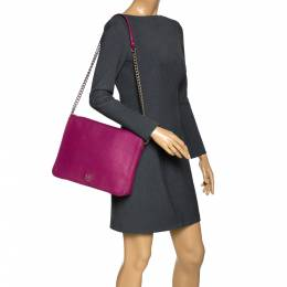Carolina Herrera Magenta Leather New Baltazar Flap Shoulder Bag Ch Carolina Herrera 302047
