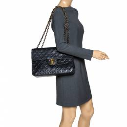 Chanel Black Quilted Lambskin Leather Maxi Vintage Classic Single Flap Bag 301650