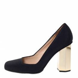 "Tory Burch Black Canvas ""Regina"" Square Toe Block Heel Pumps Size 37.5 302276"