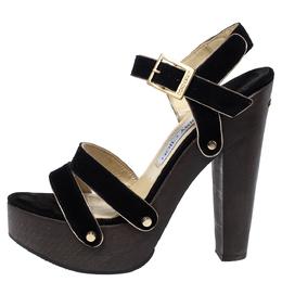 Jimmy Choo Black Suede Wooden Platform Ankle Strap Sandals Size 38 301307