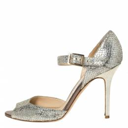 Jimmy Choo Silver Glitter Lace Mary Jane Pumps Size 39.5 302261