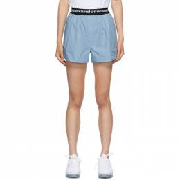 T By Alexander Wang Blue Logo Boxer-Style Shorts 4WC2204048