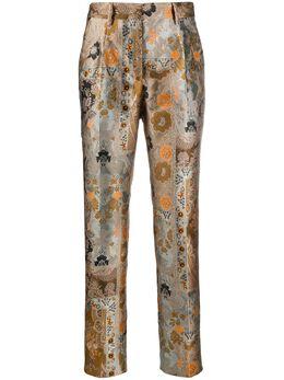 Etro брюки с вышитым узором пейсли 188420605