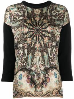 Etro paisley print contrast-sleeve jumper 193619176