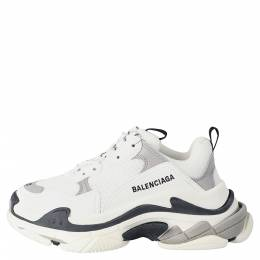 Balenciaga White/Black Leather and Mesh Triple S Platform Sneakers Size 36 301852