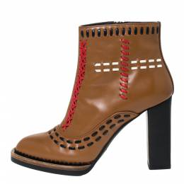 Tod's Brown Leather Gipsy Cross Stitch Detail Block Heel Ankle Boots Size 36 301697
