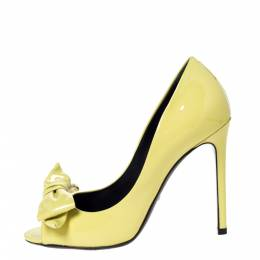 Gucci Yellow Patent Clodine Peep Toe Bow Pumps Size 36.5 301696