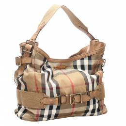 Burberry Brown House Check Canvas Brecon Shoulder Bag 301072