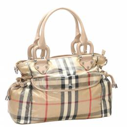 Burberry Brown/Dark Brown House Check Canvas Diaper Bag 301074