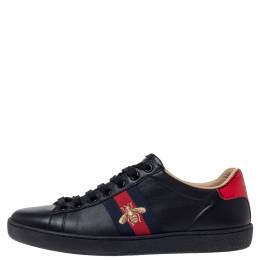 Gucci Black Leather Ace Web Bee Low Top Lace Up Sneakers Size 37 302334