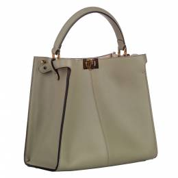 Fendi Grey Leather Peekaboo X-Lite Satchel Bag 300587