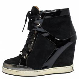 Jimmy Choo Black Patent Leather and Suede Panama Wedge Sneakers Size 37.5 302293