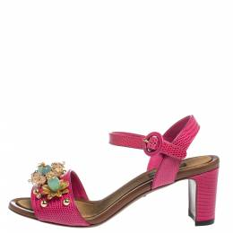 Dolce&Gabbana Lizard Embossed Leather Crystal Embellished Ankle Strap Sandals Size 37 302515