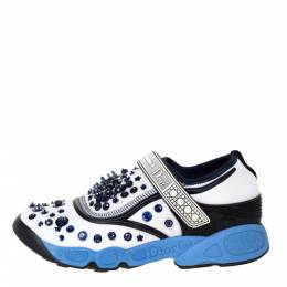 Dior White/Blue Stretch Fabric Fusion Embellished Low Top Sneakers Size 36.5 301724