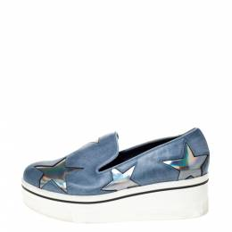 Stella McCartney Blue Faux Leather Binx Star Slip-On Platform Sneakers Size 36 301722