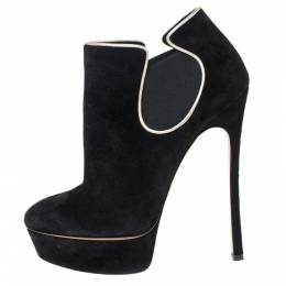 Casadei Black Suede Platform Slip On Booties Size 38 301714