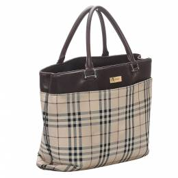 Burberry Brown/Beige House Check Canvas Tote Bag 300556