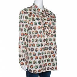 Burberry Beige Printed Cotton Ruffle Detail Alexa Shirt M 302498