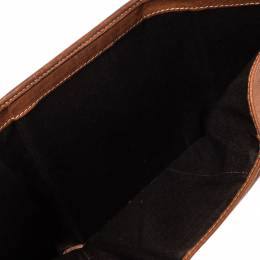 Carolina Herrera Brown Embossed Leather Trifold Compact Wallet 302559