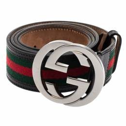 Gucci Red/Green Canvas and Leather Web Interlocking G Buckle Belt 95CM 302478