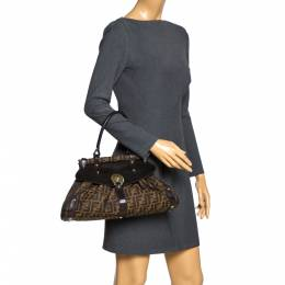 Fendi Tobacco Zucca Canvas and Leather Medium Magic Shoulder Bag 302456