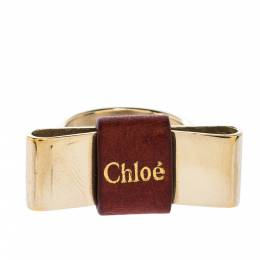 Chloe Leather Bow Motif Gold Tone Ring Size 54 302455