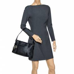 Aigner Black Signature Coated Canvas and Leather Zip Shoulder Bag 302302