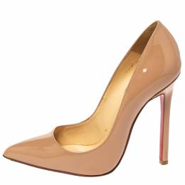 Christian Louboutin Nude Patent Leather Pigalle Pointed Toe Pumps Size 36.5 302301