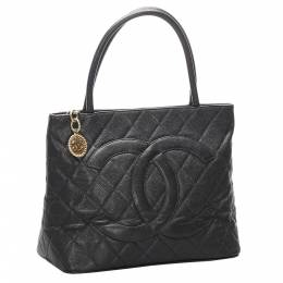 Chanel Black Caviar Leather Medallion Tote Bag 301012