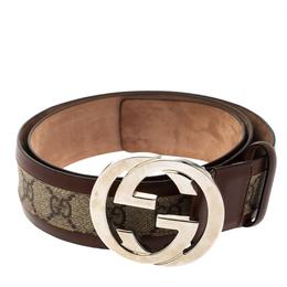 Gucci Brown/Beige GG Supreme Canvas and Leather Interlocking G Buckle Belt 95CM 302475