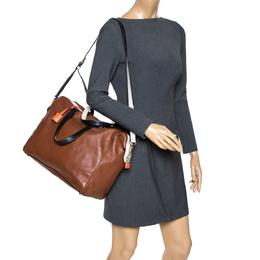 Kate Spade Brown/White Leather Weekender Bag 302260
