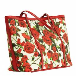 Dolce&Gabbana Rose Canvas Leather Tote Bag 296750