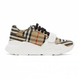Burberry Beige Check Regis Sneakers 8020282